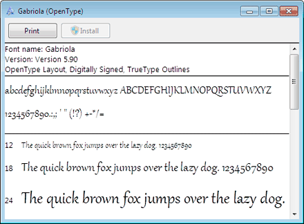 Microsoft Windows 7 Font Management